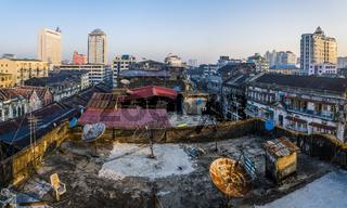 Blick über Daecher, Yangon, Myanmar, Asien