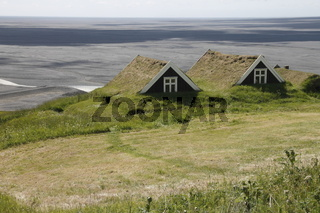 An old house of Sel farm overlooking Skeiðarársandur