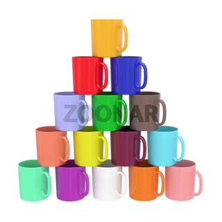Pyramid composed of colorful ceramic cups isolated on white. High resolution 3D image