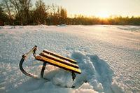 Winter field under
