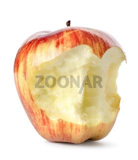 Eaten red apple isolated