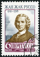 USSR - 1962: shows Jean-Jacques Rousseau (1712-1778), a Genevan philosopher, writer and composer