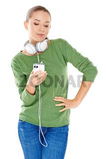 Young woman enjoying her music