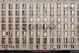 The facade of the building.