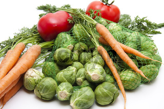 Rosenkohl und Karotten