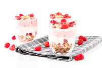 three raspberry muesli desserts