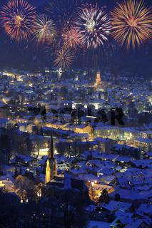 Feuerwerk Neujahr Sylvester in Garmisch