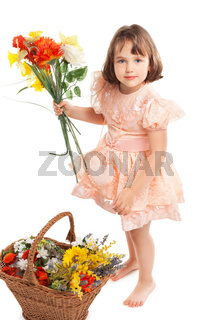 Cute little girl with flowers