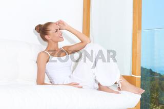Woman enjoying tropical luxury