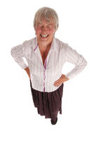 Laughing Senior Business Woman on White