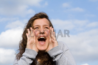 happy teen shouting or singing
