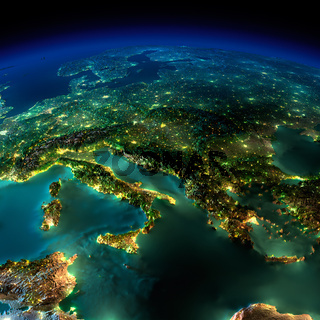 Night Earth. A piece of Europe - Italy and Greece