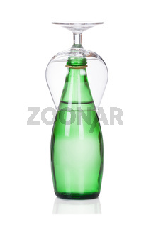glass of soda water bottle isolated on white
