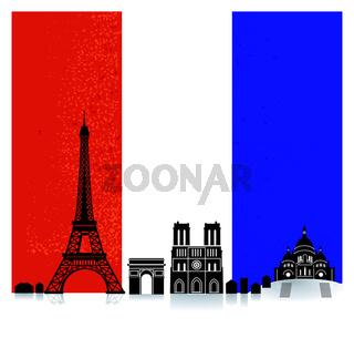 Frankreich mit Fahne.eps