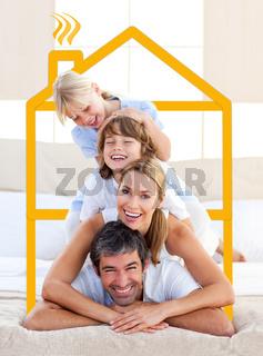 Family having fun doing a giant piggyback