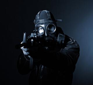 terrorist with gasmask
