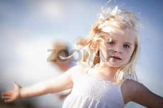 Adorable Blue Eyed Girl Playing Outside