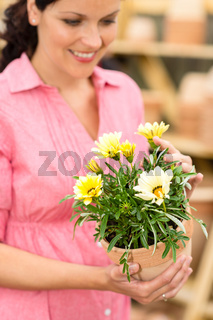 Woman hold yellow potted flower