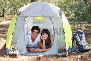 Teenagers camping