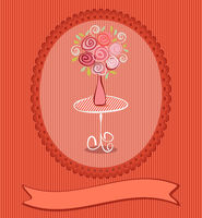 Gift card with roses flowers. Vector eps10 wedding, birthday or valentine post card illustration with copy space for text