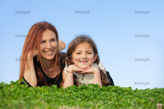 smiling mother and child , happy family