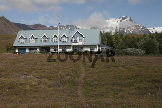 House near Skaftafell. Vatnajökull National Park (the largest national park in Europe)