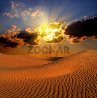 dramatic suset landscape in desert