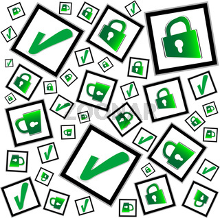 green check box with check mark and padlock
