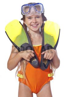 Mädchen mit Taucherausrüstung