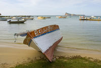 Fishing boat on the beach  - mauritius