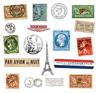 Postage stamps and labels from France