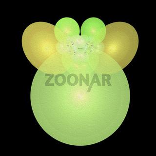 leuchtend gelb grüne phantasiefigur