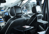 Interior of a modern car with a media system and l