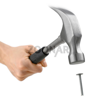 Hammer in action, isolated on white