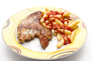 Puten Steak mit Pommes