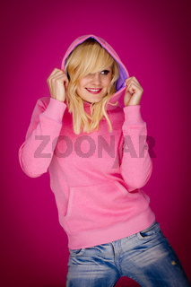 Blond in pink.