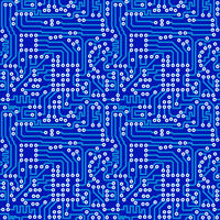 Blue electronic circuit board with gray solder seamless pattern
