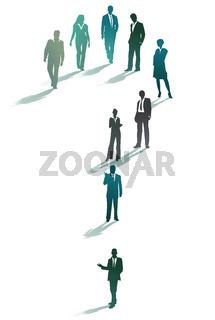 Gruppe von Geschäftsleuten bilden ein Fragezeichen