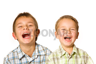 two laughing boys