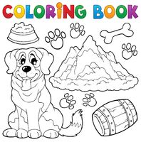 Coloring book dog theme 7 - picture illustration.