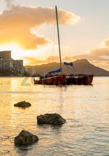 Sunrise over Diamond Head from Waikiki Hawaii