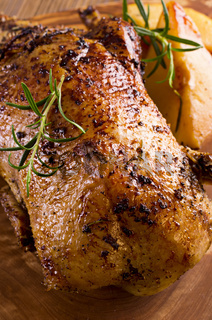 roasted duck with herbs