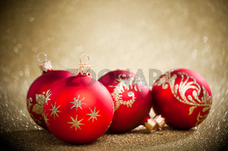Christmas balls with golden background