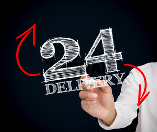 Businesswoman writing 24 delivery