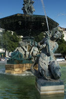 Statues of  Rossio square at Lisbon