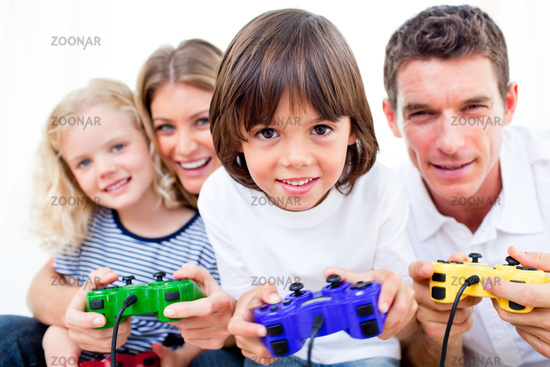Lively family playing video game