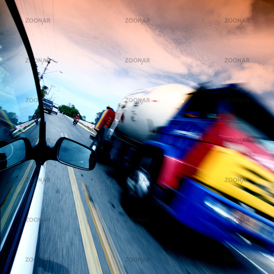 speed highway drive motion blur cars