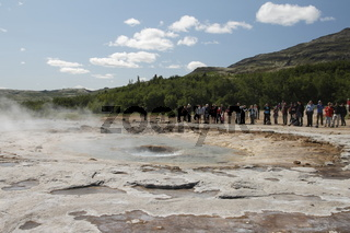 Strokkur one of the most famous geysers. Geysir geothermal area