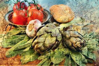 Italien Vegetables Vintage Style