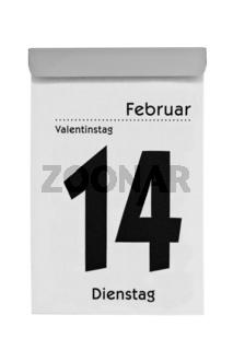 Abreißkalender zeigt Valentinstag